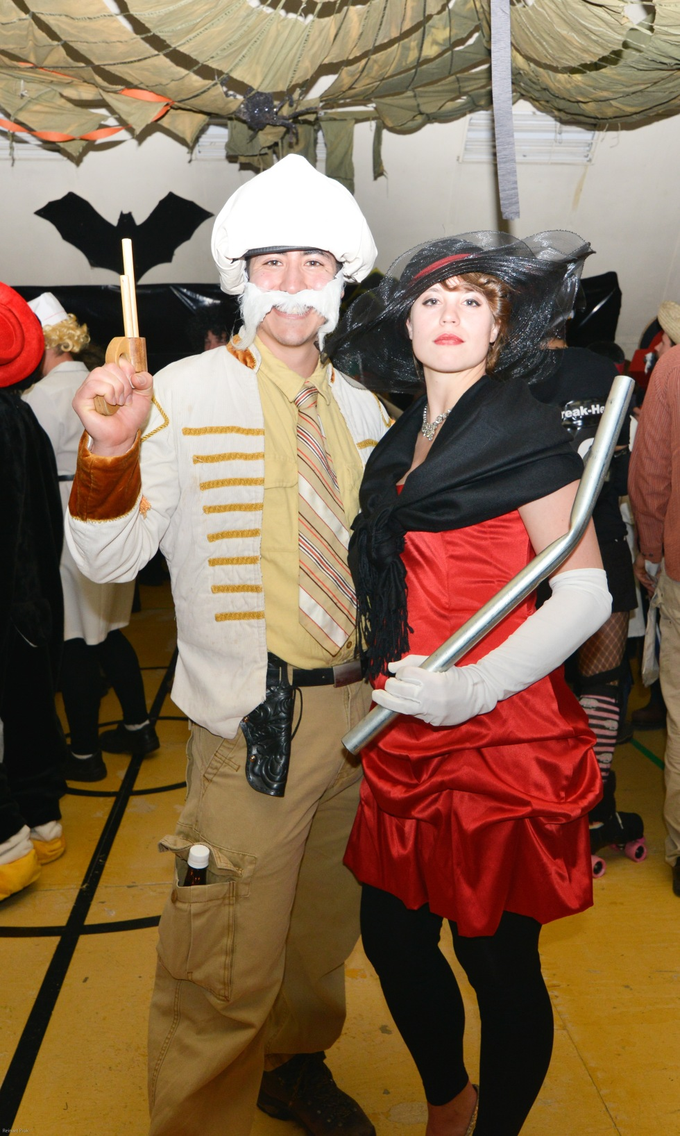 Bev and Abe, costumes still intact, at Halloween Party (in the Big Gym). © R. Piuk